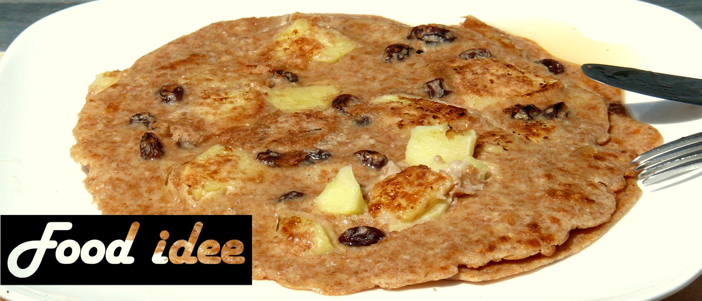 Spelt pannenkoek met appel en rozijnen
