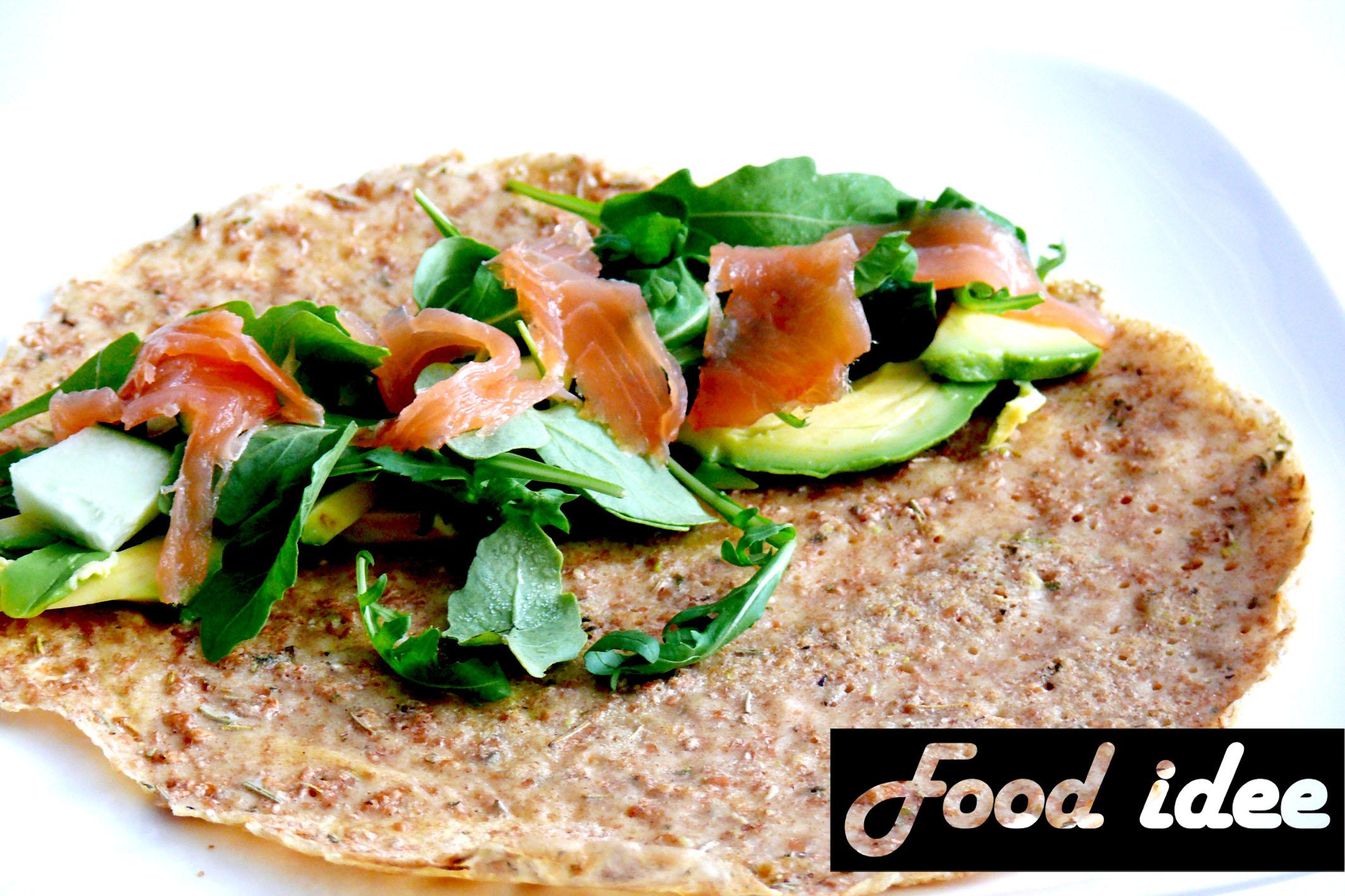 spelt boekweit pannenkoek met zalm en avocado