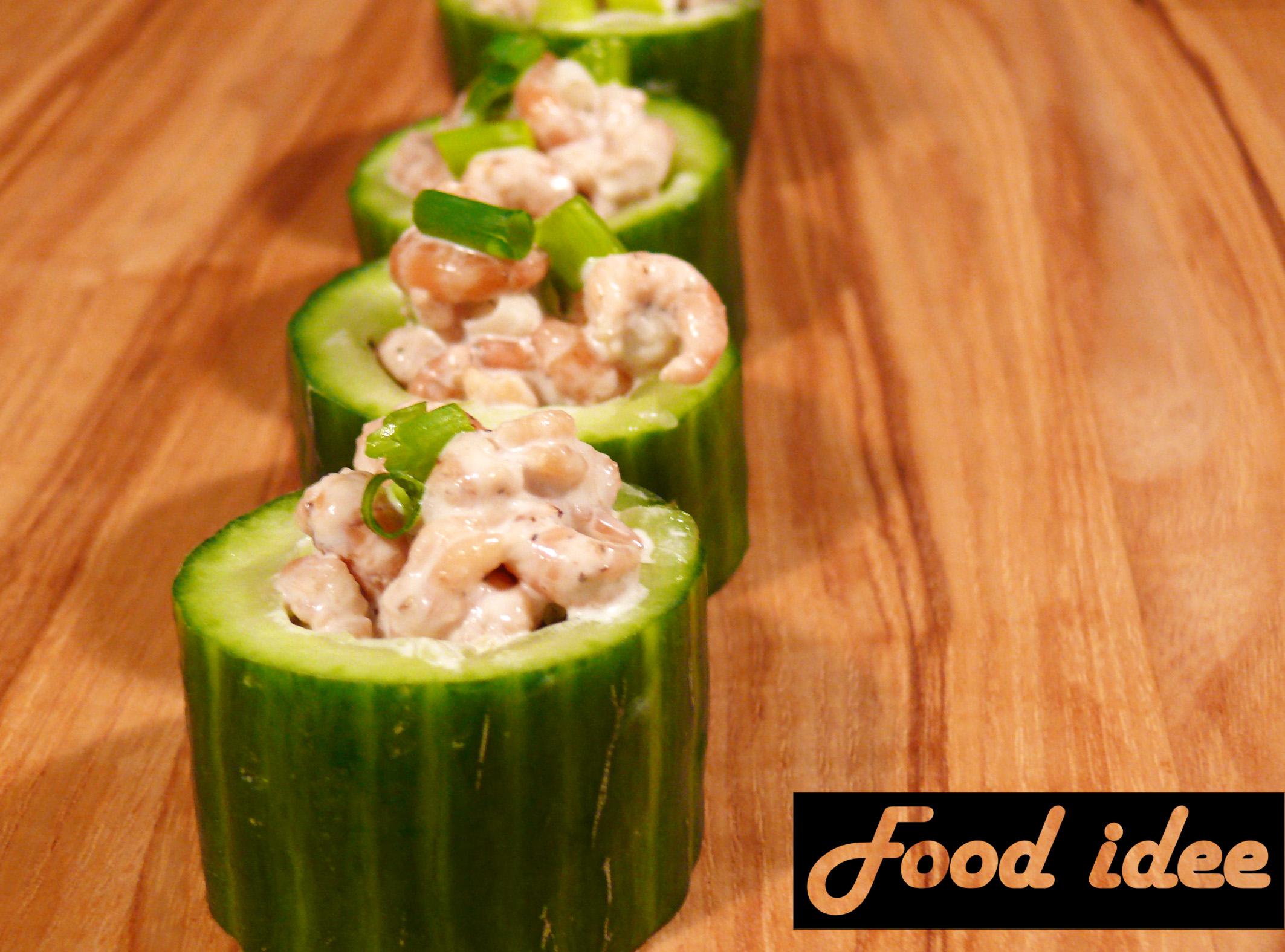 Gevulde komkommer met Hollandse garnalen