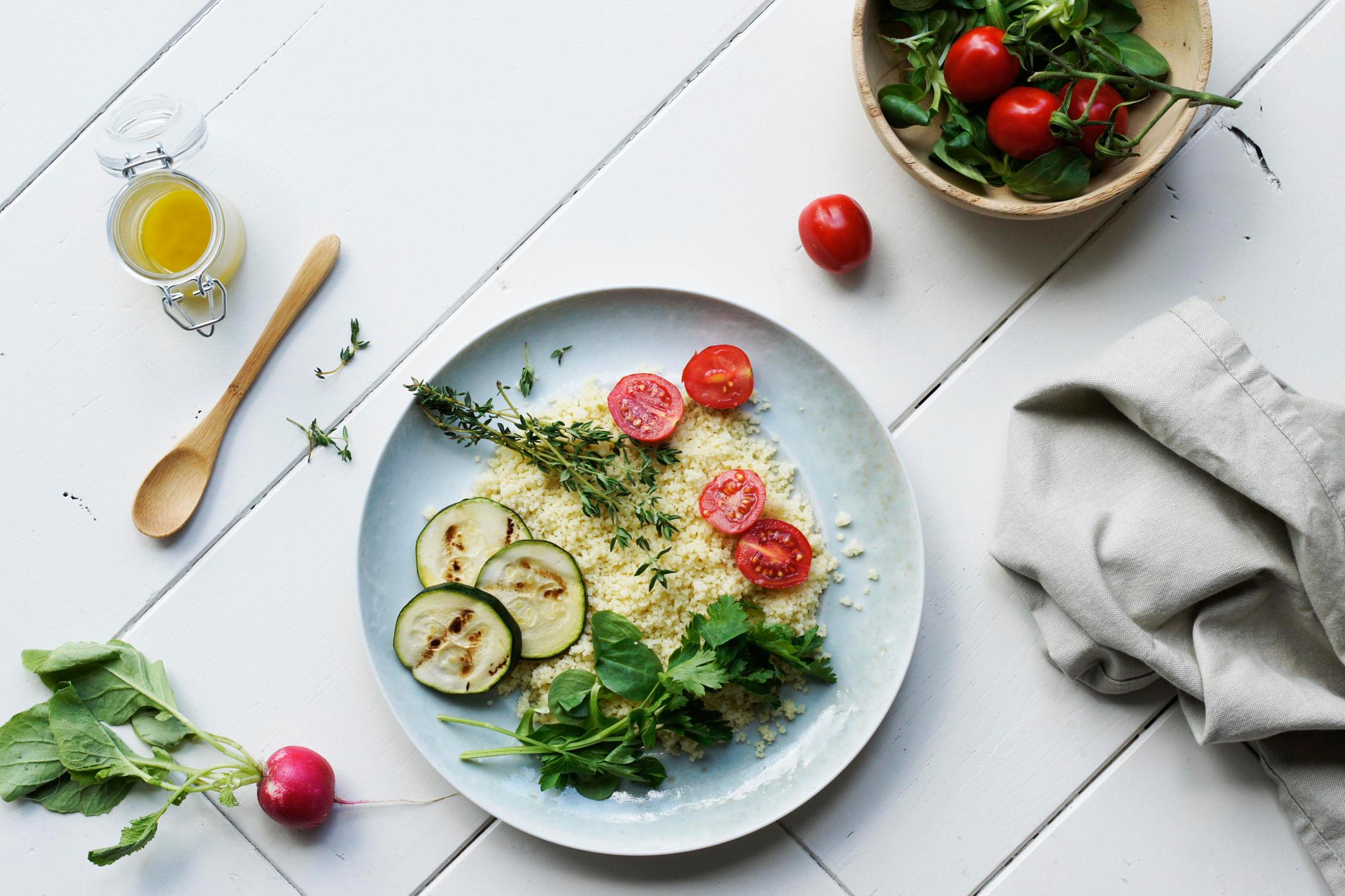 gierstsalade met gegrilde groenten